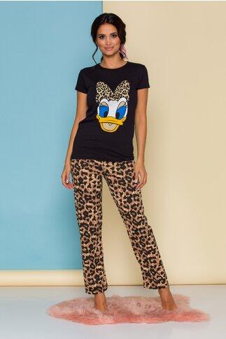 Pijama Daisy Duck cu tricou negru si pantaloni cu animal print