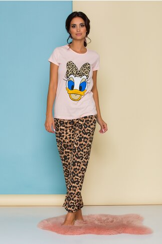 Pijama Daisy Duck cu tricou roz si pantaloni cu animal print
