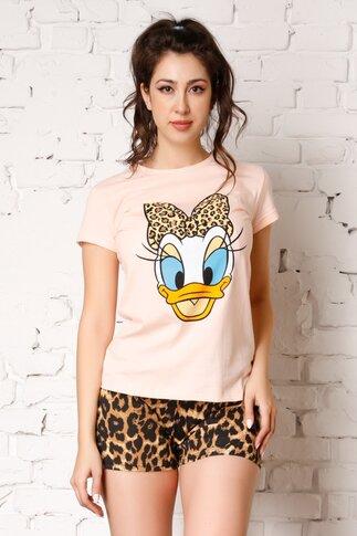 Pijama Daisy Duck cu tricou somon si pantaloni scurti cu animal print