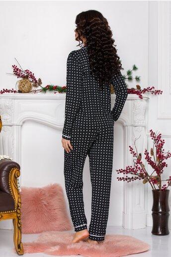 Pijama dama neagra cu imprimeuri diverse