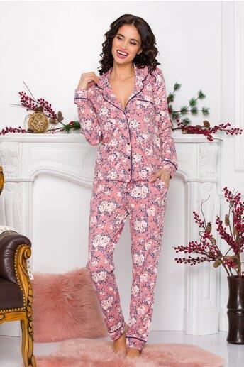 Pijama dama roz cu imprimeuri florale in nuante de ivory si albastru