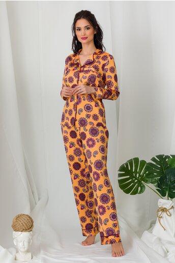 Pijama din satin orange cu imprimeuri mandala