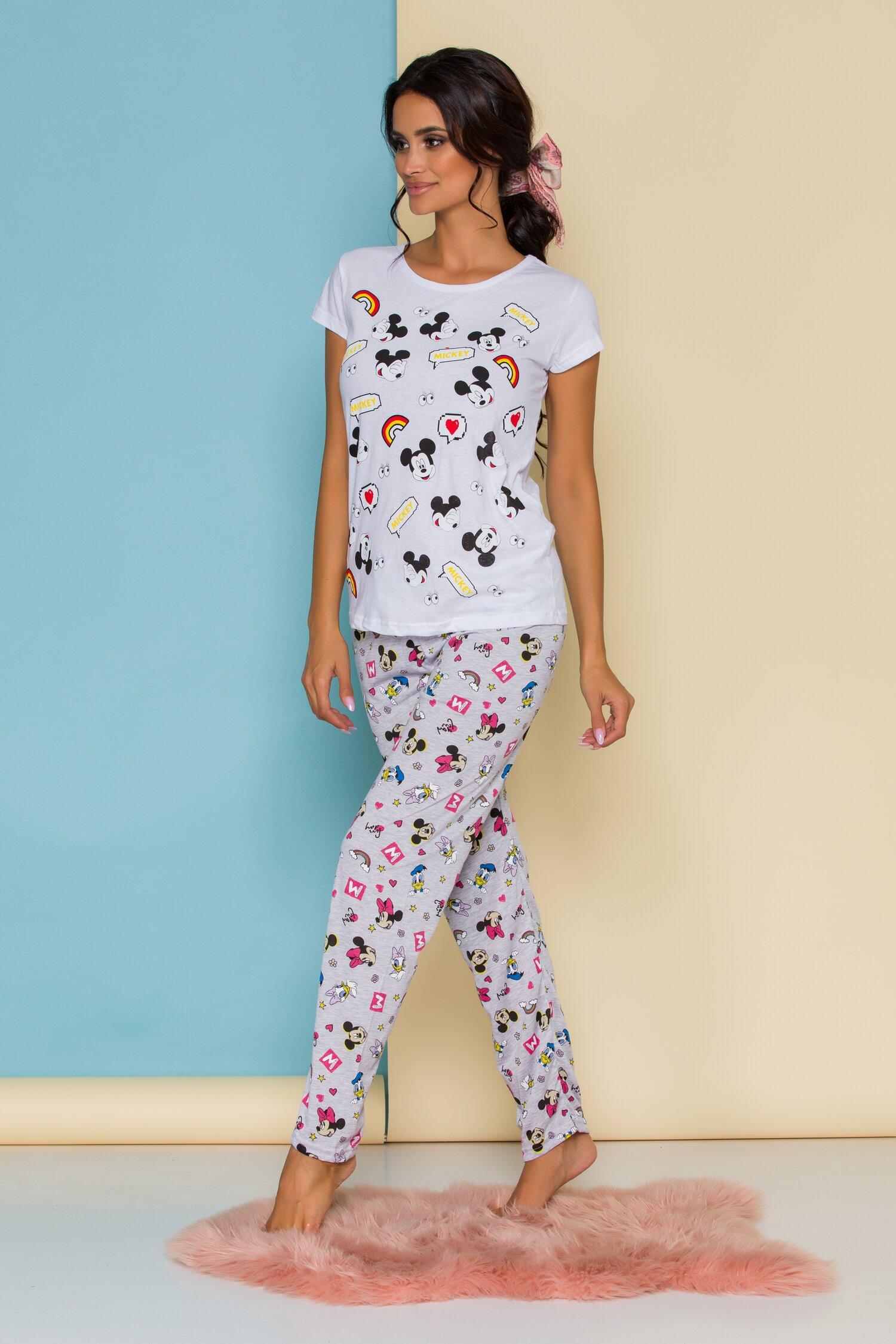 Pijama Disney cu tricou alb si pantaloni gri