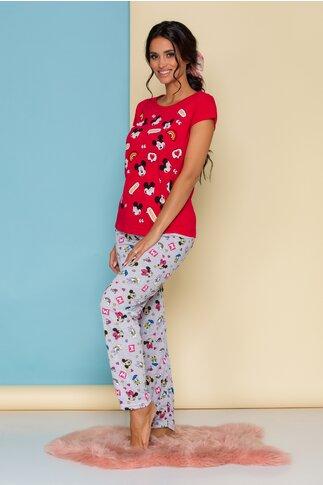 Pijama Disney cu tricou rosu si pantaloni gri