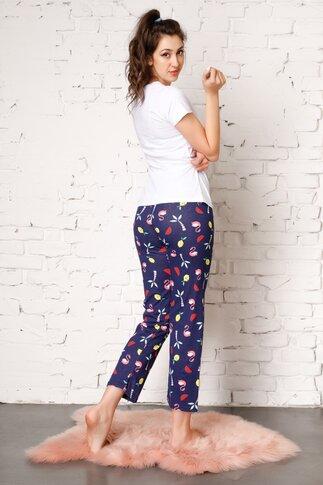 Pijama Flamingo cu pantaloni bleumarin si imprimeu