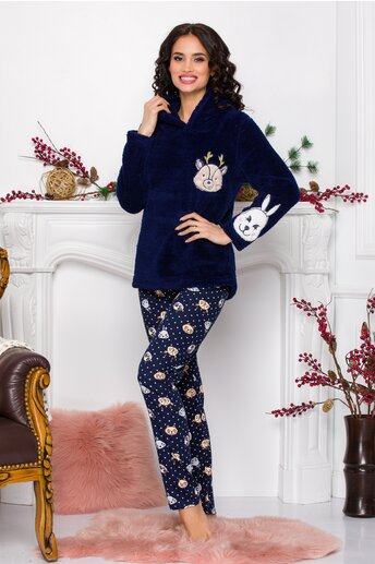 Pijama Fluffy bleumarin cu imprimeu  pe pantaloni
