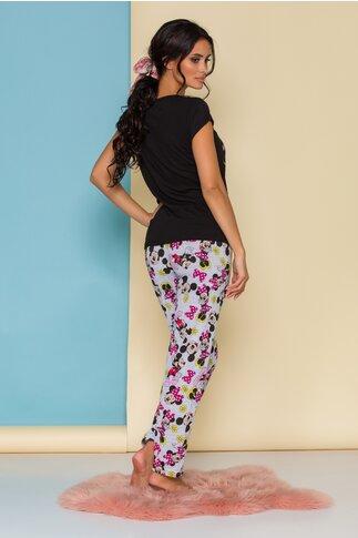 Pijama Forever Love cu tricou negru si pantaloni gri