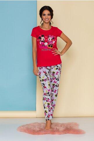 Pijama Forever Love cu tricou rosu si pantaloni gri