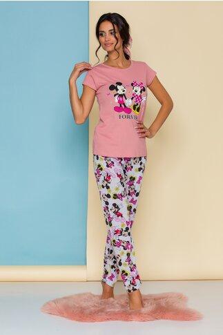 Pijama Forever Love cu tricou roz si pantaloni gri