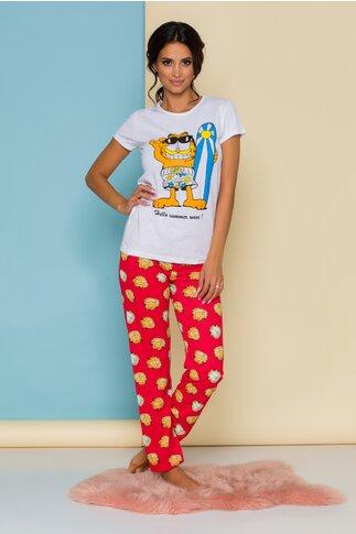 Pijama Garfield cu tricou alb si pantaloni rosii cu imprimeu