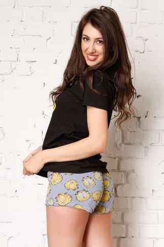 Pijama Garfield cu tricou negru si pantaloni cu dungi albastre