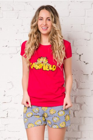Pijama Garfield cu tricou rosu si pantaloni cu dungi albastre