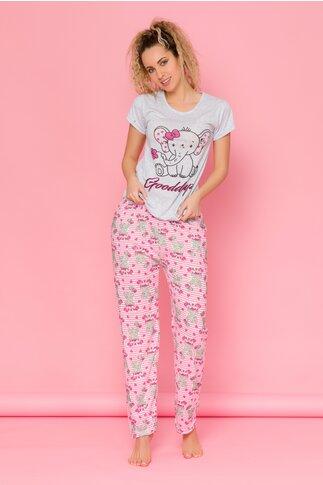 Pijama Goodday cu tricou gri si pantaloni cu dungi si imprimeuri