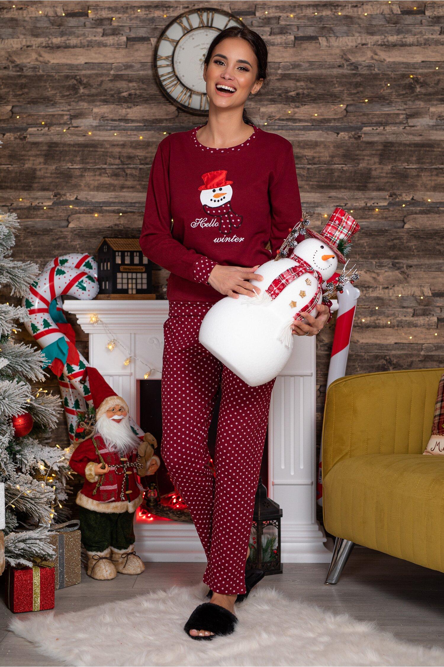 Pijama Hello Winter bordo cu imprimeu imagine