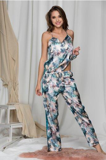 Pijama in nuante de turcoaz cu top si pantaloni lungi