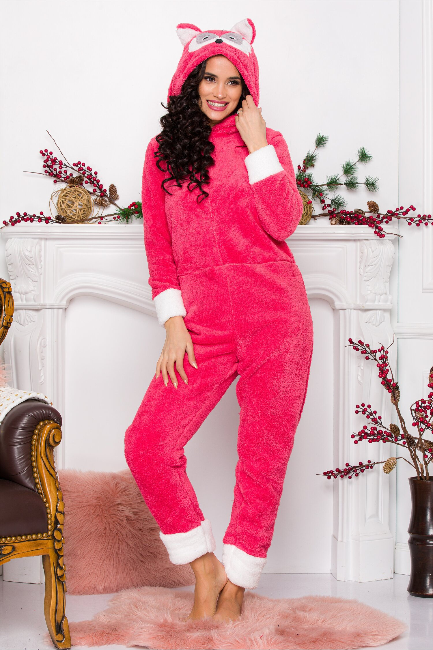 Pijama intreaga Foxy corai
