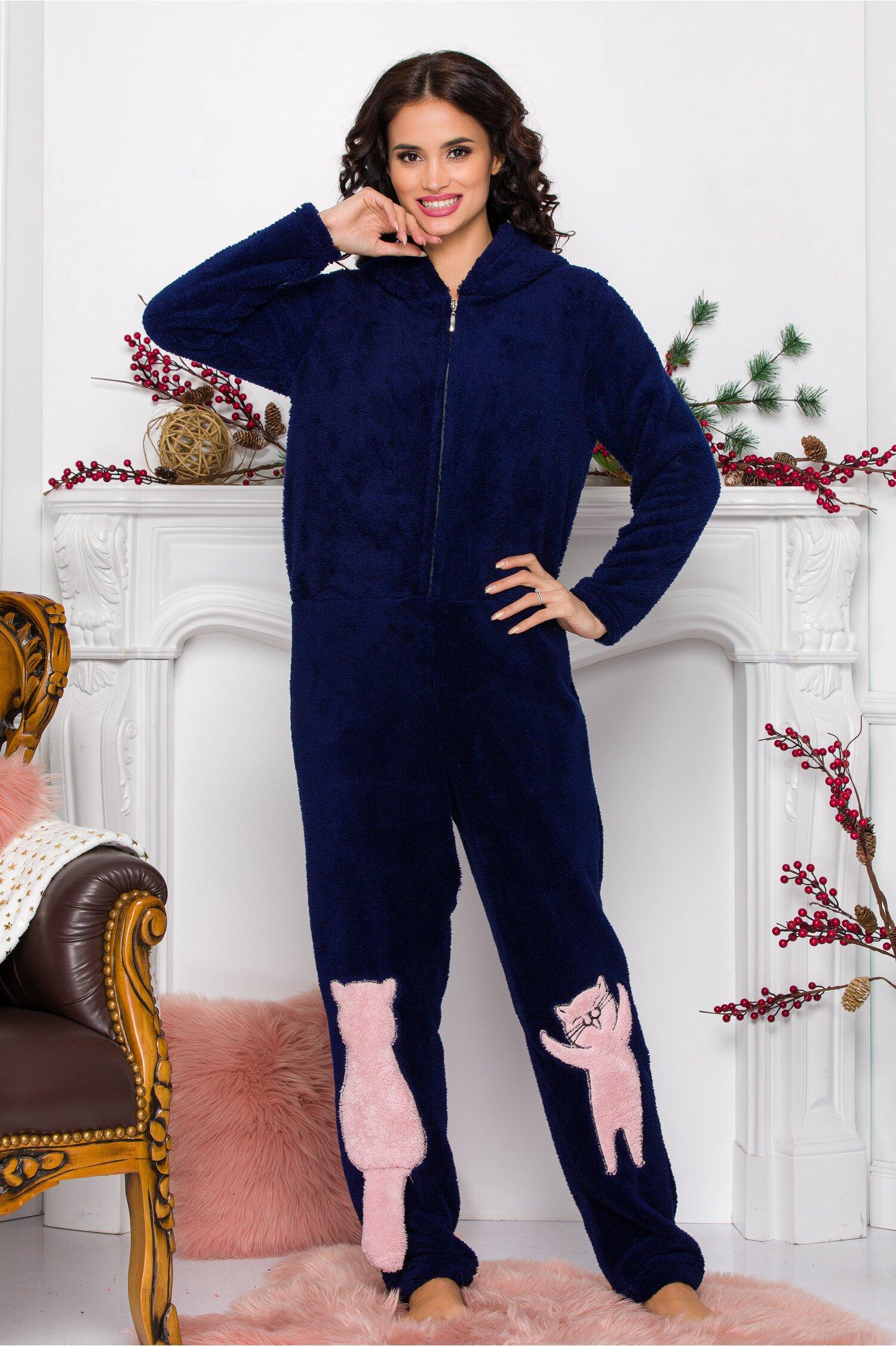 Pijama intreaga Kitty bleumarin imagine