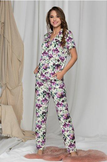 Pijama ivory cu flori mov alcatuita din bluza si pantaloni