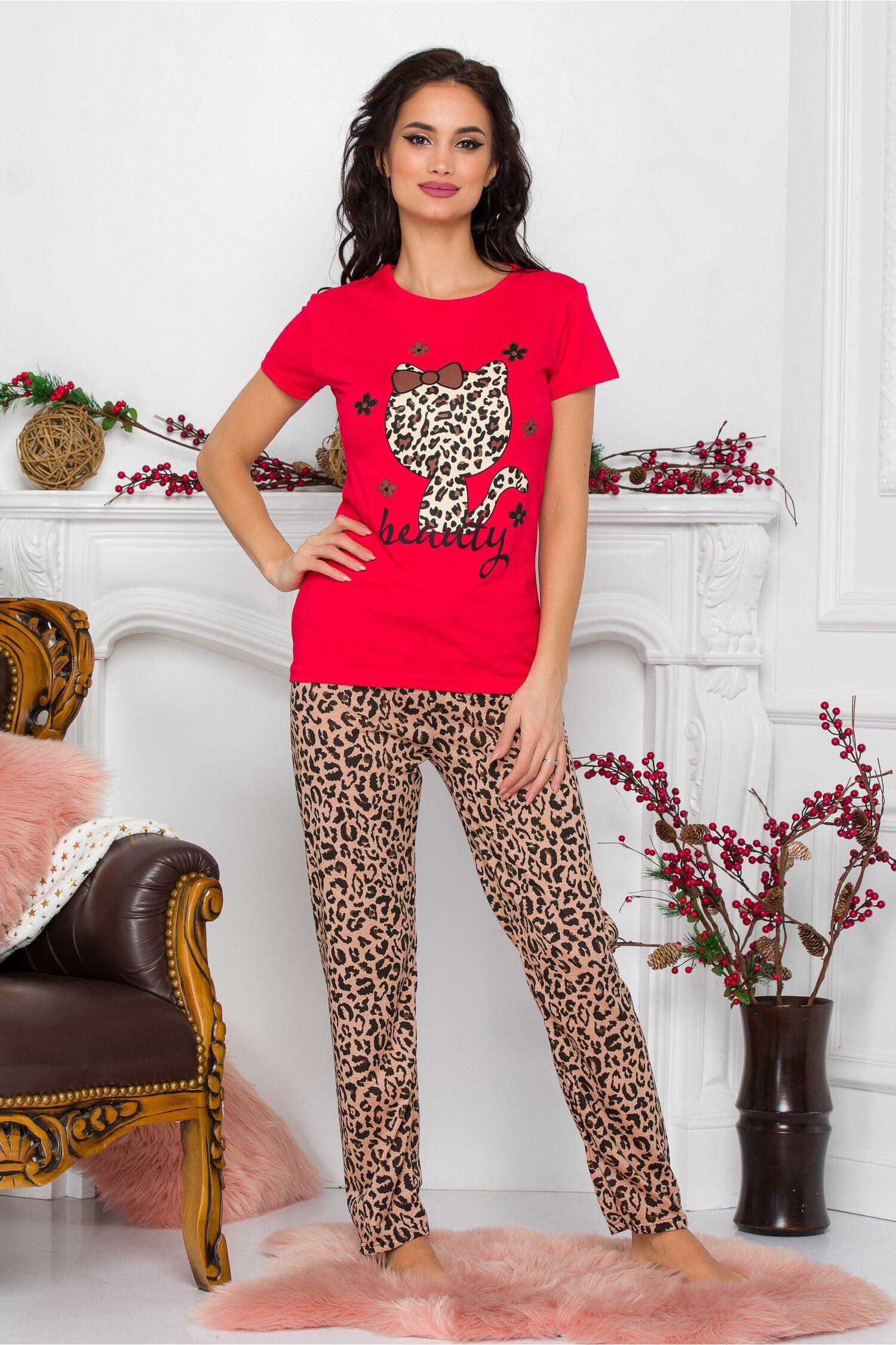 Pijama Kitty cu tricou rosu si pantaloni animal print