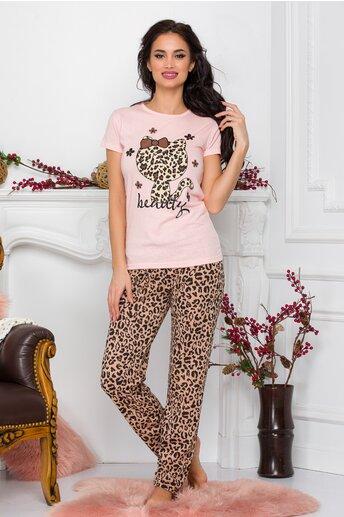 Pijama Kitty cu tricou roz si pantaloni animal print