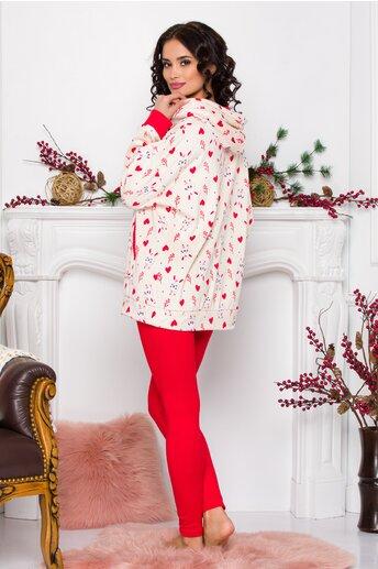 Pijama Love cu bluza ivory cu inimioare si pantaloni rosii