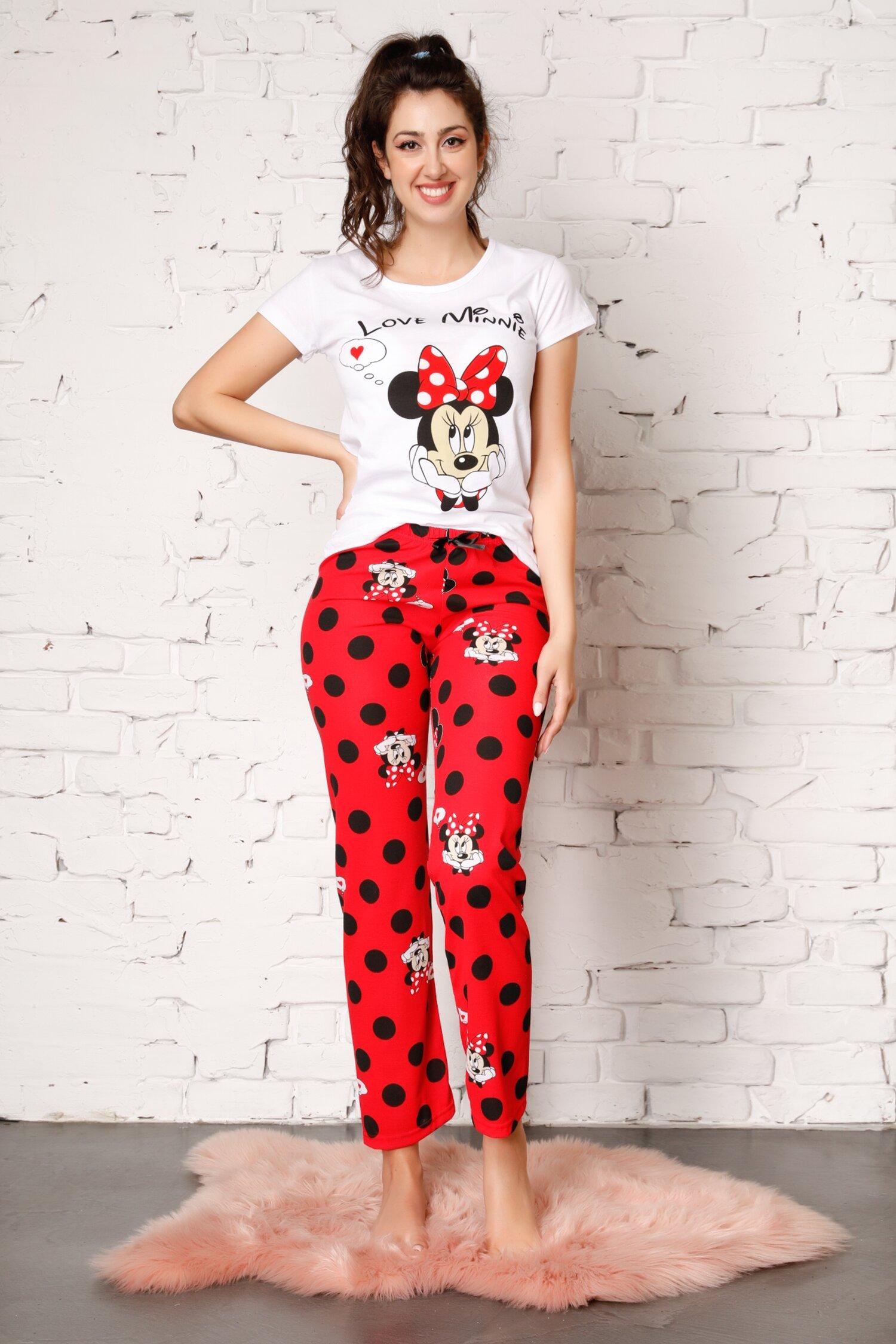 Pijama Love Minnie cu pantaloni rosii cu buline