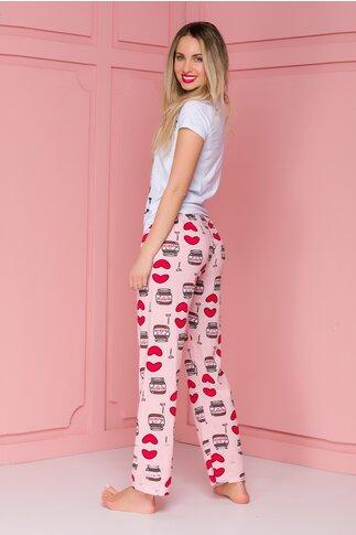 Pijama Love Nutella cu pantaloni roz