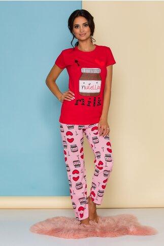 Pijama Love Nutella cu tricou rosu si pantaloni roz