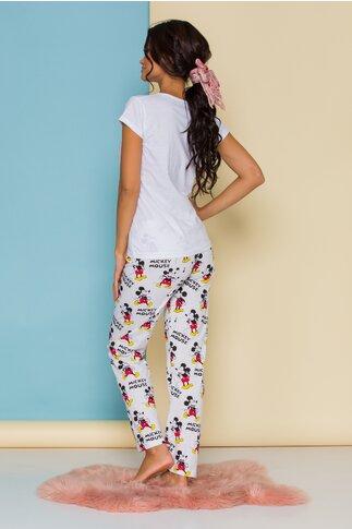 Pijama Mickey's mood alba cu imprimeu