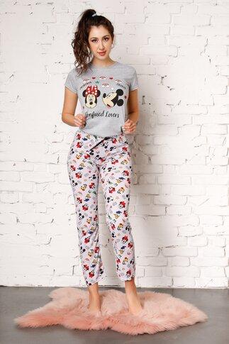 Pijama Mikey Mouse cu pantaloni gri si tricou gri
