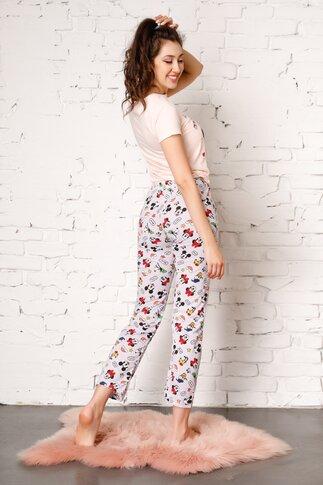 Pijama Mikey Mouse cu pantaloni gri si tricou somon