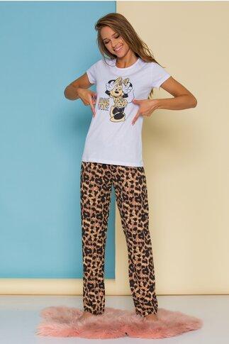 Pijama Minnie cu tricou alb si pantaloni animal print