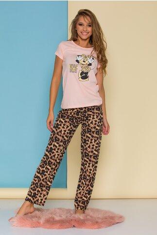 Pijama Minnie cu tricou roz si pantaloni animal print