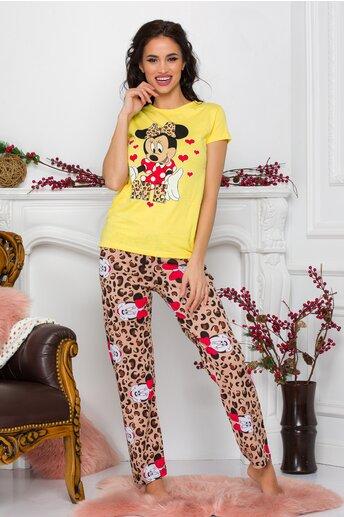 Pijama Minnie Me cu tricou galben si pantaloni cu animal print
