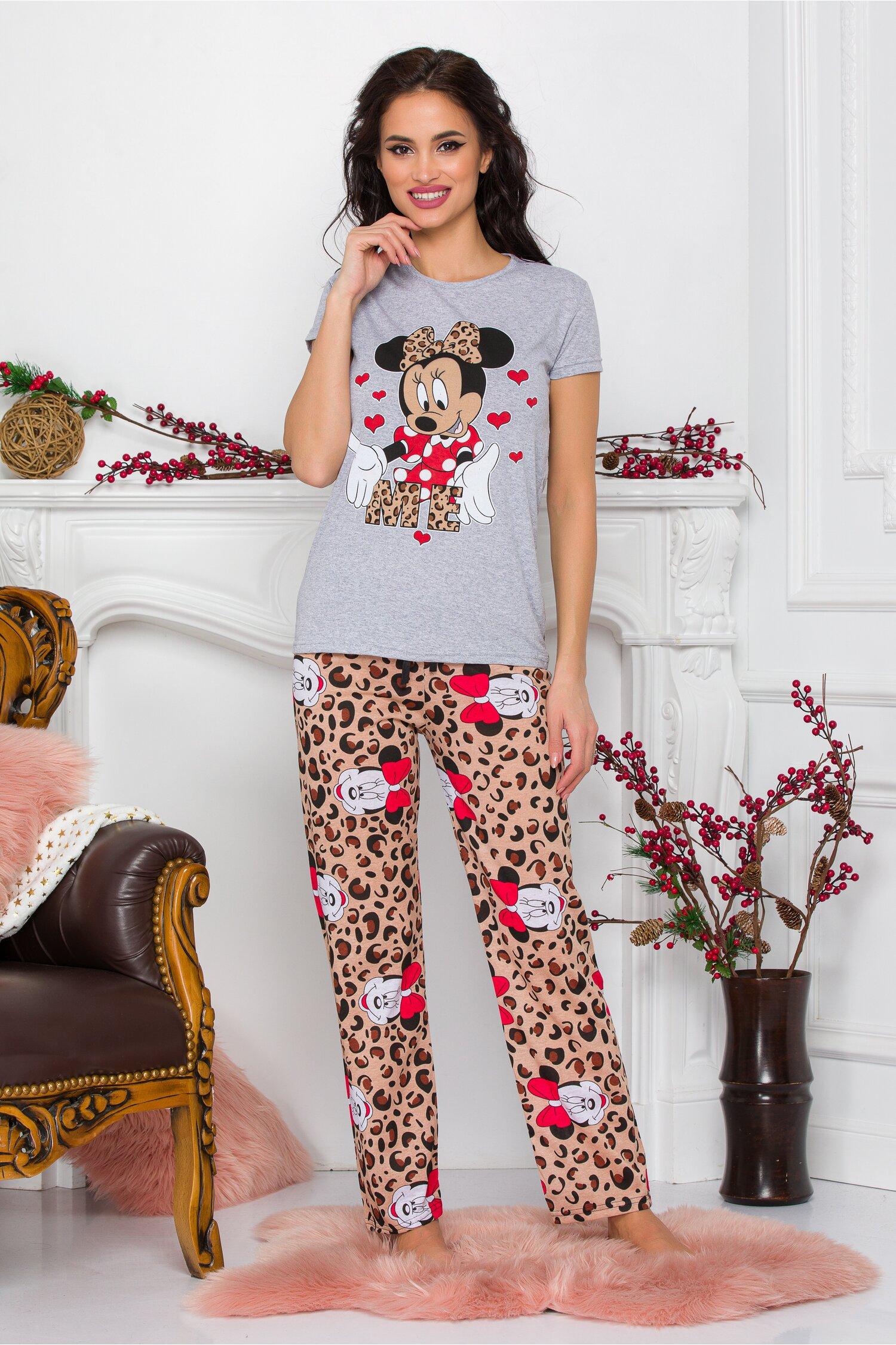 Pijama Minnie Me cu tricou gri si pantaloni cu animal print