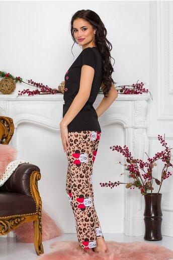 Pijama Minnie Me cu tricou negru si pantaloni cu animal print