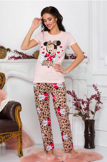 Pijama Minnie Me cu tricou roz si pantaloni cu animal print