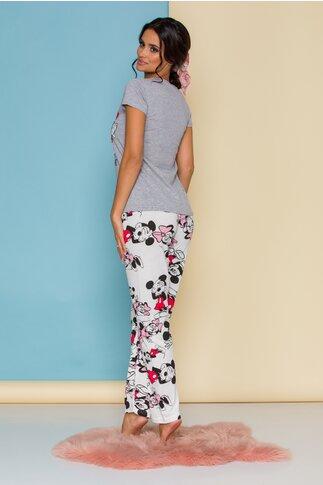 Pijama Minnie&Mickey cu tricou gri si pantaloni albi cu imprimeu