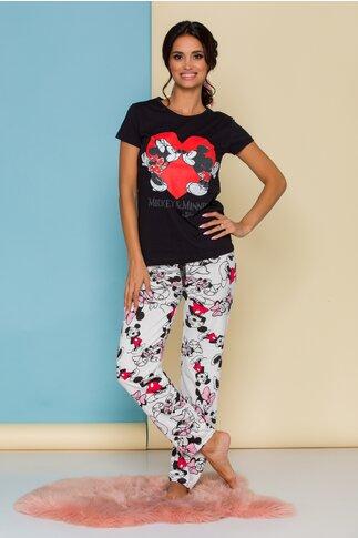 Pijama Minnie&Mickey cu tricou negru si pantaloni albi cu imprimeu