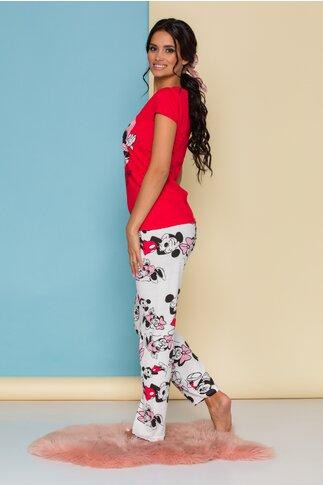 Pijama Minnie&Mickey cu tricou rosu si pantaloni albi cu imprimeu