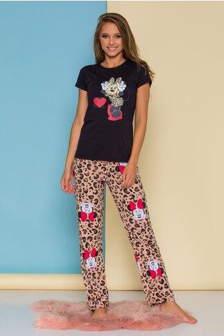 Pijama Minnie Mouse cu tricou negru si pantaloni animal print