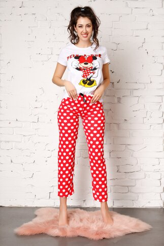 Pijama Peak-a-bow cu Minnie Mouse si buline