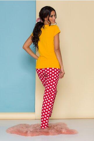 Pijama Peak-a-bow cu tricou galben Minnie Mouse si buline