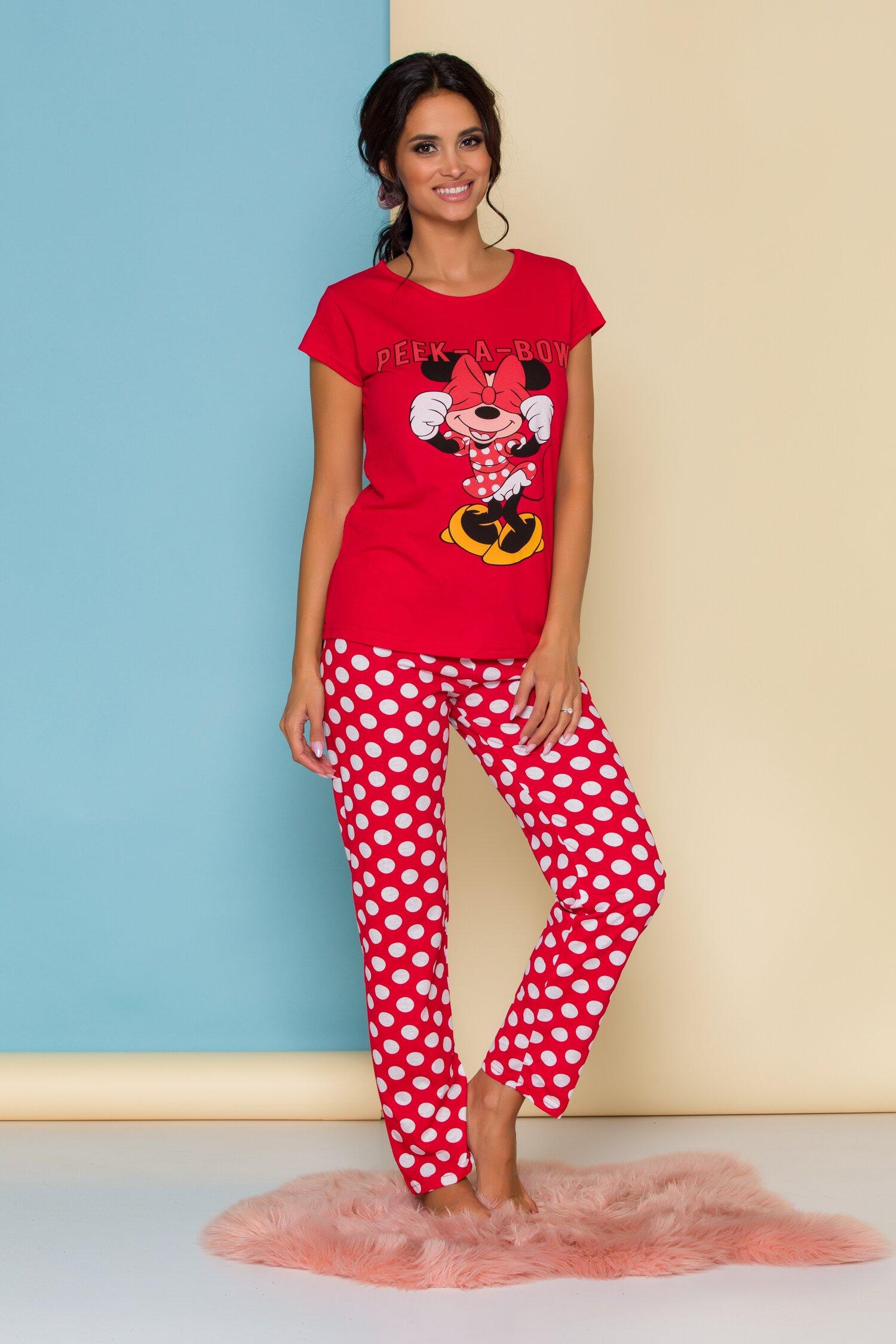 Pijama Peak-a-bow rosie cu Minnie Mouse si buline