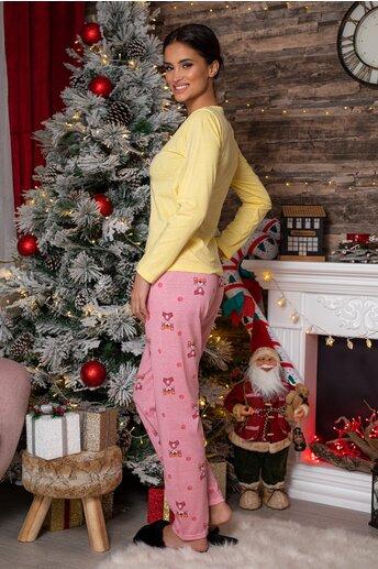 Pijama Pink Panther cu bluza galbena si pantaloni roz