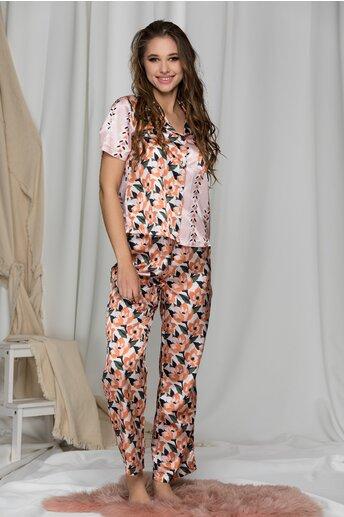 Pijama satinata roz cu imprimeuri florale caramizii