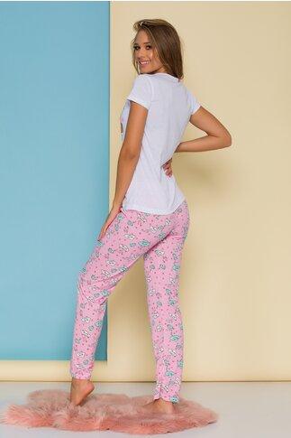 Pijama Sleep Time cu tricou alb si pantaloni roz cu imprimeu
