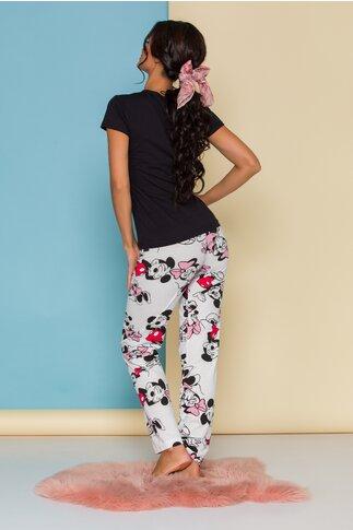 Pijama Super Love cu tricou negru si pantaloni albi cu imprimeu