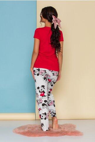 Pijama Super Love cu tricou rosu si pantaloni albi cu imprimeu