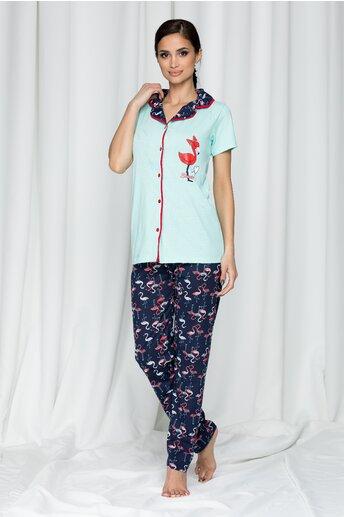 Pijama Sweet cu pantaloni lungi si imprimeu flamingo